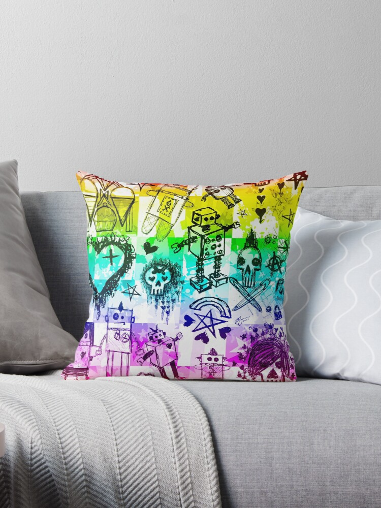 Rainbow Scene Kid Sketches Throw Pillows By Roseanne Jones Redbubble