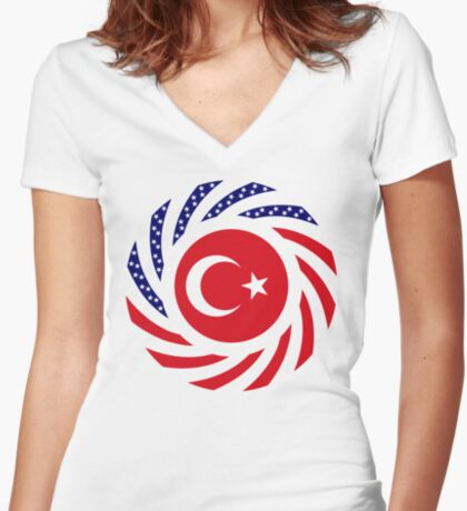 Turkish American Multinational Patriot Flag Series Fitted V-Neck T-Shirt