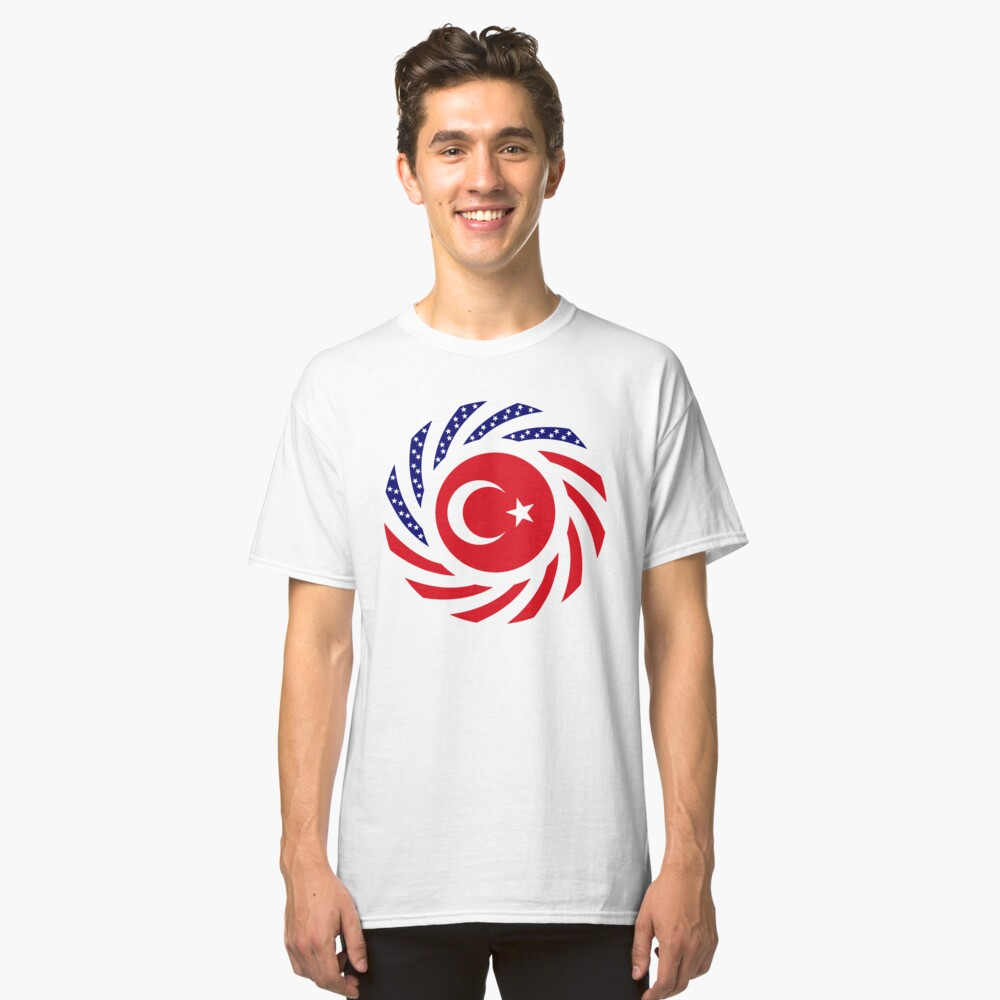 Turkish American Multinational Patriot Flag Series Classic T-Shirt