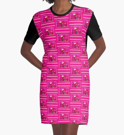 Hot Pink Ice Plant/Pigface Flower Graphic T-Shirt Dress