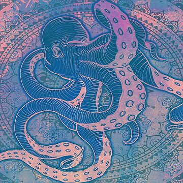 Octopus on Damask - Pastels by Bad-Doggie