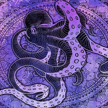 Octopus on Damask - Purple Edition by Bad-Doggie