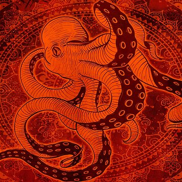 Octopus on Damask - Red Edition by Bad-Doggie
