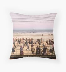 Along the beach, Atlantic City, NJ 1905 Colorized Throw Pillow