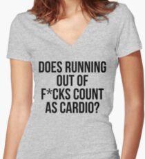 Hat das Laufen von F * cks zählen als Cardio? Shirt mit V-Ausschnitt
