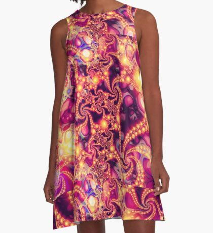 Falling Within (warm) - Psychedelic Fractal Abstract A-Line Dress