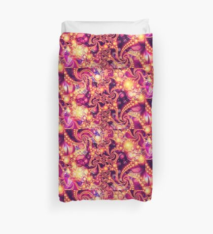 Falling Within (warm) - Psychedelic Fractal Abstract Duvet Cover