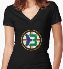 Boston Whalers - Hartford Bruins Women's Fitted V-Neck T-Shirt