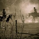 Ride Horses by sunset by Denis Charbonnier