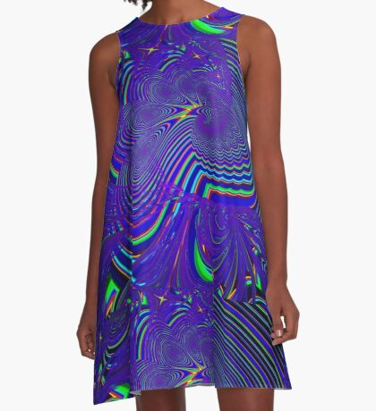 Sliding Phosphenes- Psychedelic Fractal Abstract A-Line Dress