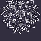 Mehndi / Henna style lotus flower blossom mandala(white) by Leah McNeir