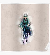 Digitally enhanced image Of a woman riding a bicycle  Poster