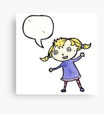 cartoon little blond girl Canvas Print