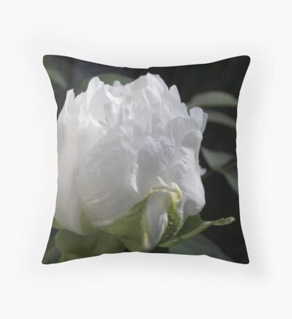 White Peony 01 - Floral Photography Throw Pillow