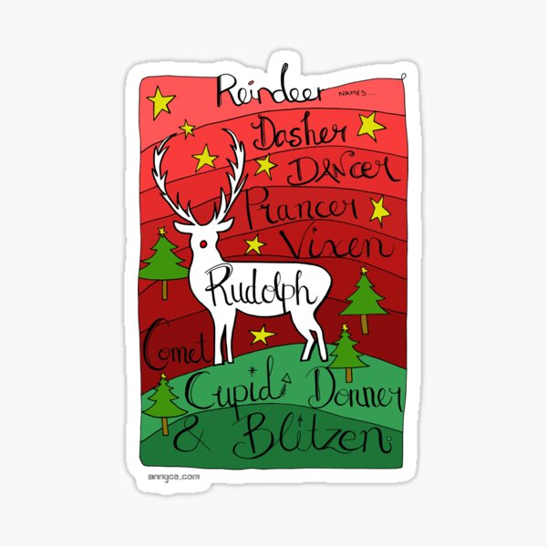 Reindeer Names Sticker