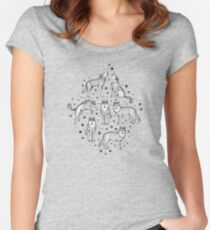 Wolves and Stars on White Women's Fitted Scoop T-Shirt