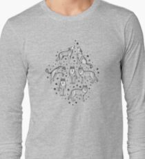 Wolves and Stars on White Long Sleeve T-Shirt