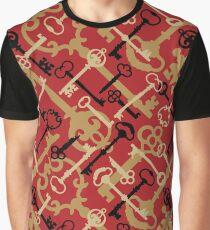 Skeleton Key Pattern Graphic T-Shirt
