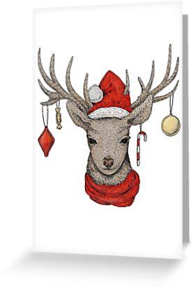 christmas deer by eugenia hauss - Deer Christmas Cards