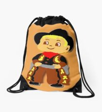 Retro cute Kid Billy Cowboy tee Drawstring Bag