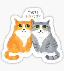 Purretty Kitties - Cute Cat Couple / Buddies Sticker
