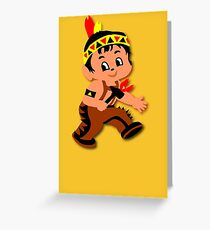 Cute retro Kid Billy as a Native Indian Greeting Card