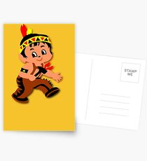 Cute retro Kid Billy as a Native Indian Postcards