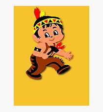 Cute retro Kid Billy as a Native Indian Photographic Print