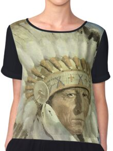 The Chief  Retro Vintage Native American Man Cool Art Design Chiffon Top