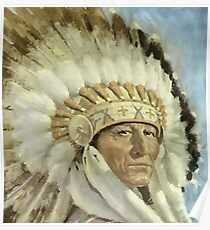 The Chief  Retro Vintage Native American Man Cool Art Design Poster