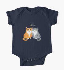 Purretty Kitties - Cute Cat Couple / Buddies One Piece - Short Sleeve