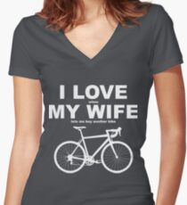 I LOVE MY WIFE* Women's Fitted V-Neck T-Shirt