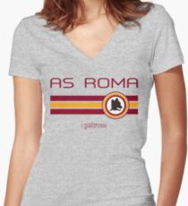 Serie A - AS Roma (Away Creme) Women's Fitted V-Neck T-Shirt