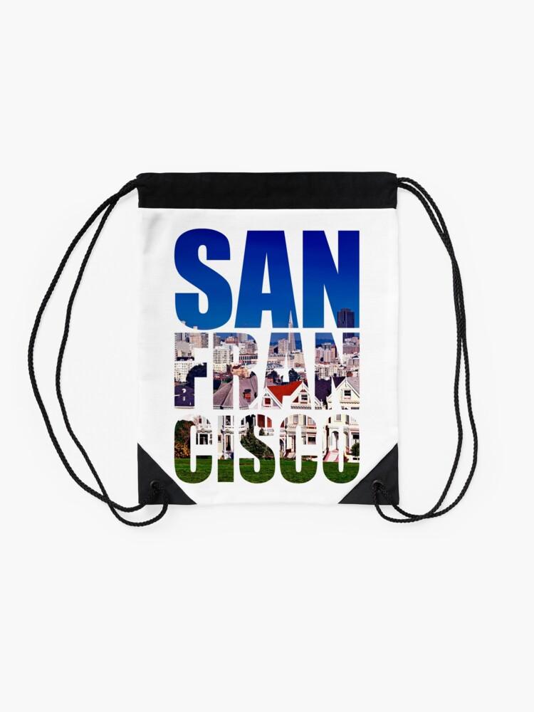 Alternate view of San Francisco, Painted Ladies Drawstring Bag