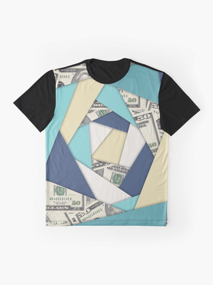 Alternate view of Colorful Currency Collage Graphic T-Shirt