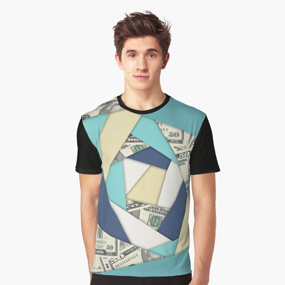 Colorful Currency Collage Graphic T-Shirt Front