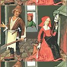 Man With Bat, Woman With Spinal, Neighbor In Window by MaritaChustak