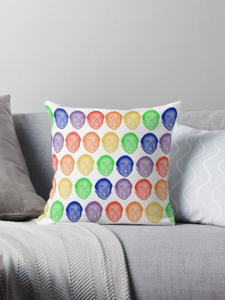 """Nicolas Cage Rainbow Mug"" Throw Pillows By CinderZin"