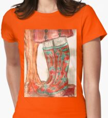 Autumn Walk In Wellingtons Womens Fitted T-Shirt