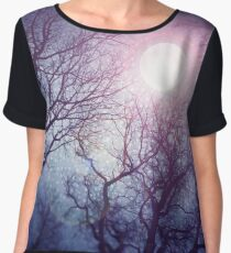 Dark enchanted photo of a full moon in the trees branches background. Blue and violet fairy-tale colors Chiffon Top
