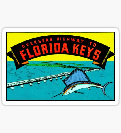 Florida Keys Highway Bridge Vintage Travel Decal Sticker