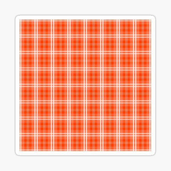 Bright Neon Orange and White Tartan Plaid Check Sticker
