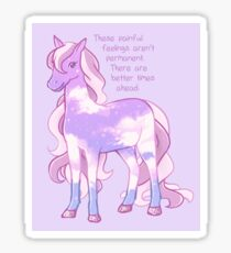 """These Painful Feelings Aren't Permanent"" Starry Sky Pony Sticker"