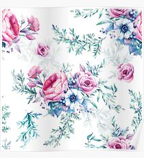 Watercolor vintage floral seamless pattern Poster