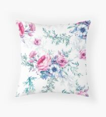 Watercolor vintage floral seamless pattern Throw Pillow