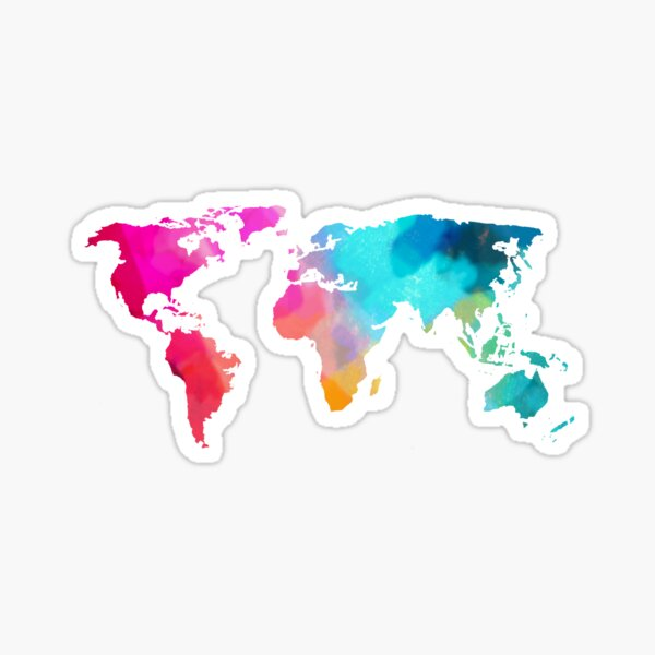 world map colorffull Sticker