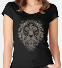 Lion Artistic Mosaic Portrait Women's Fitted Scoop T-Shirt