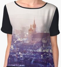 Panoramic view of Old City in Cracow at the sunset Chiffon Top