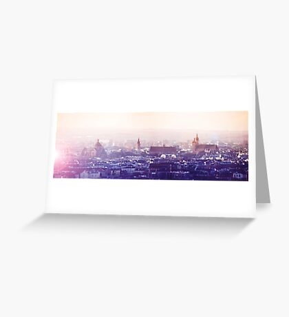 Panoramic view of Old City in Cracow at the sunset Greeting Card
