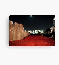 Poppies at the Tower of London - At Night with the Shard. Canvas Print